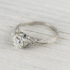Carat Vintage Sapphire & Diamond Engagement Ring Erstwhile Jewelry Co. Engagement Solitaire, Sapphire Diamond Engagement, Diamond Solitaire Rings, Antique Engagement Rings, Antique Rings, Wedding Engagement, Emerald Rings, Sapphire Rings, Engagement Sets