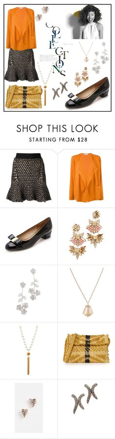 """Untitled #1027"" by racheal-taylor on Polyvore featuring Cecilia Pradomurion, Le Tricot Perugia, Salvatore Ferragamo, Paul Mitchell, Deepa Gurnani, Jennifer Behr, Kendra Scott, Fragments, Antonello and Rebecca Minkoff"