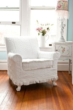 antique chair white vintage matelasse bedspread shabby chic cottage slipcover cottage chenille by Janny Dangerous