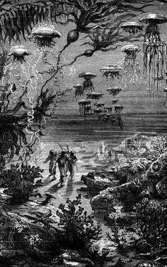 Vingt Mille Lieues Sous Les Mers by Jules Verne. Hetzel, 1871. #SeaMonsters