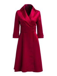 Shop Coats - Elegant Silk-blend Long Sleeve Surplice Neck Coat online. Discover unique designers fashion at StyleWe.com.