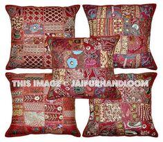 Set of 5 Maroon patchwork cushion covers Boho Floor Pillows Handmade Bedroom Cushions Ikea Pillows Large Throw Pillows, Sofa Throw Pillows, Chair Cushions, Indian Pillows, Bohemian Pillows, Bohemian Dorm, Vintage Bohemian, Bohemian Style, Patchwork Cushion