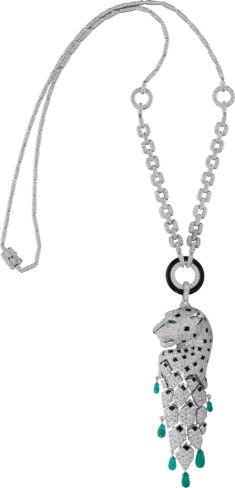 Panthère de Cartier necklace White gold, emeralds, onyx, diamonds