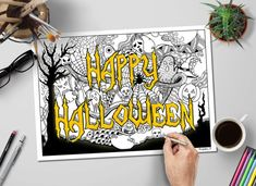 happy halloween adult coloring page available for instant download in our shop different strokes arts