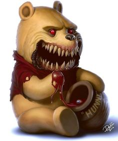 Winnie the Pooh, Piglet, Shrek, Minion and more become zombiefied freaks in this awesome new art series. Childhood Characters, Cute Cartoon Characters, Favorite Cartoon Character, Disney Characters, Disney Pixar, Cartoon Monsters, Horror Cartoon, Zombie Cartoon, Horror Art