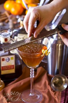 Holiday Spiced Manhattan Cocktail Recipe   ASpicyPerspective.com # ...