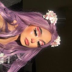 Uploaded by Baddie B. Find images and videos about makeup on We Heart It - the app to get lost in what you love. Hair Color Purple, Hair Dye Colors, Green Hair Streaks, Deep Purple Hair, Girl With Purple Hair, Hot Pink Hair, Dyed Hair Purple, Blonde Streaks, Color Streaks