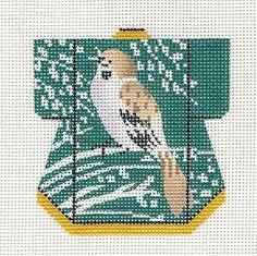 Ukiyoe style bird - LEE Petite Kimono Singing Sparrow handpainted Needlepoint Canvas Ornament