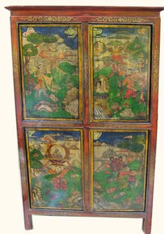 Hand Painted Tibetan Cabinet | Tibetan Book Cabinet With Hand Painted  Scenery | Oriental Furnishings