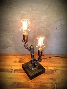 Dual Industrial Steampunk table pipe lamp with Globe Edison bulb and Weathered wood base ** Check this awesome product by going to the link at the image. (Amazon affiliate link)