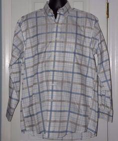 Jos. A. Bank Traveler's Collection Long Sleeve Plaid Multi-color Shirt Size M #JosABank