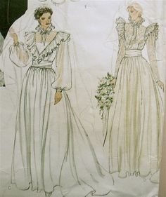 Vogue 2864~Bridal Original WEDDING Dress GOWN~Victorian Styles~RUFFLES!~10~UNCUT