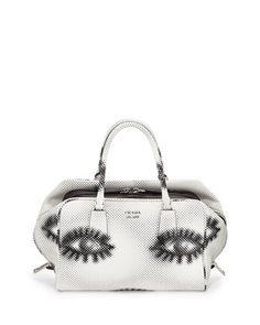 Python+Eyes+Inside+Bag,+White/Black+(Bianco+Nero)+by+Prada+at+Neiman+Marcus.