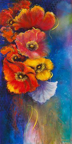 Abstract Flowers, Watercolor Flowers, Watercolor Art, Wonderful Flowers, Pastel Art, Hobbies And Crafts, Botanical Prints, Flower Art, Poppies
