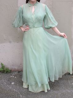 Vintage 1930's Dress // 30s Seafoam Green Bias Cut Cocktail Party Gown w/ Sheer Silk Chiffon Overlay & Matching Balloon Sleeve Jacket Blouse by TrueValueVintage on Etsy