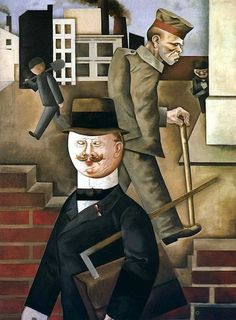 The painter George Grosz worked with Bertolt Brecht during the years of the Weimar Republic. His 1921 painting Civil Servant of the Nation captures the class polarisation taking place in Germany at the time Max Beckmann, Art Dégénéré, Ludwig Meidner, Art Actuel, George Grosz, New Objectivity, Degenerate Art, Tate Britain, Art History