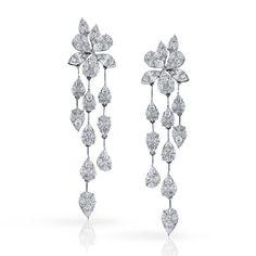 Simon G. 18K White Gold Diamond Drop Marquise, Pear & Princess Cut Diamond Earrings