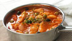 Bacalao Guisado (Stewed Cod Fish) by Helen ( C - Key Ingredient Cod Fish Recipes, Seafood Recipes, Cooking Recipes, Healthy Recipes, Meal Recipes, Basque Food, Comida Boricua, Cuban Cuisine, Portuguese Recipes