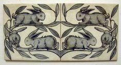 William De Morgan 2 Tile Rabbit Panel / Bathroom / Kitchen / Splashback / Plaque in Antiques, Periods/Styles, Arts & Crafts Movement | eBay