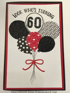 Stampin up balloon card, 60th balloon birthday card, STAMPINSHOUT: Balloon Celebration