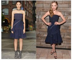 Amanda Seyfried's ruffled denim dress by Givenchy