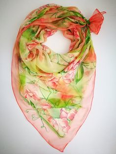7da3f1f6b89 Hand painted Silk chiffon scarf Sweet peas and english robins | Silk ...