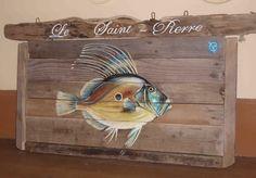 saint pierre-bois flotté - acrylique-poisson