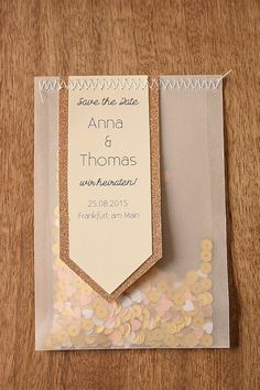 DIY Save the Date Confetti 10 creative cards and tags Diy Invitations, Wedding Invitation Design, Wedding Stationary, Invitation Cards, Wedding Cards, Diy Wedding, Wedding Favors, Wedding Day, Diy Boyfriend Gifts