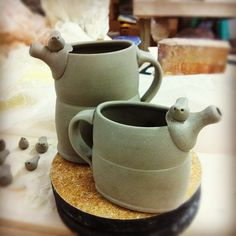 Watering-Can inspired bird pitchers.