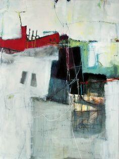 "Anne-Laure Djaballah - Shifting 48""x36"", oil/mixed media on canvas, 2008."