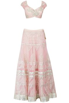 Pink sequins and gota applique detail lehenga set available only at Pernia's Pop-Up Shop