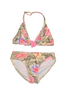 This flower print camouflage print bikini is perfect for every little trendsetter about to hit the beach. The tiny ruffle and flower trim adds just the right amount of girl-appeal. Bikini Set, Bikini Swimsuit, 2 Piece Swimsuits, Surf Girls, Daughter Love, String Bikinis, Size 16, Spring 2015, Flower