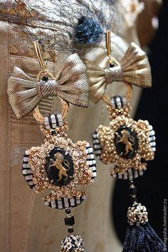 Купить Серьги А15007 - золотой, черный, серьги, ручная вышивка, авторская ручная работа
