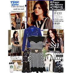 Aria Montgomery blackwhite stripe style