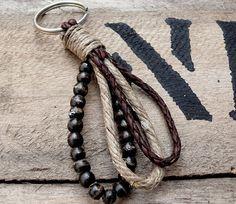xxx Black and Tan beads and hemp key chain ring tassel