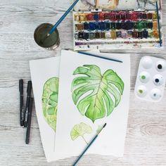 Paintings used in designing a monsterra print fabric print in greens. to make craft storage!     Organise your artsy craftsy clutter in this easy to make storage kit! Great storage ideas and hacks on the blog!