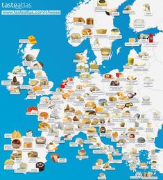 This map shows Europe's most popular cheeses by region - Matador Network Junk Food, Planet Map, Cuisine Diverse, Types Of Cheese, History Memes, All Pokemon, How To Make Cheese, Have You Tried, St Bernards