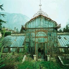 Abandoned Victorian Style Greenhouse, Villa Maria, in northern Italy near Lake Como. The exact location of the photo was over the hotel Villa Carlotta in Tremezzo near Lake Como in northern Italy. The Villa Maria has undergone a restoration since Abandoned Buildings, Abandoned Mansions, Old Buildings, Abandoned Places, Abandoned Castles, Beautiful Buildings, Beautiful Places, Beautiful Architecture, Romantic Places