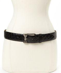 Black Quilted Bow Buckle Belt #zulily #zulilyfinds