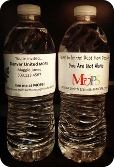 Put invitation labels on bottles of cold water to pass out at the park, the county fair or craft bazaar!