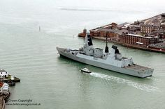 HMS Dauntless leaves Portsmouth harbour.