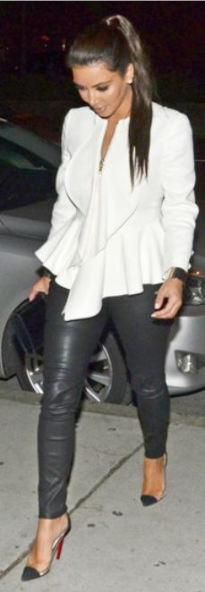 Kim Kardashian:  Jacket – Givenchy    Shoes – Christian Louboutin