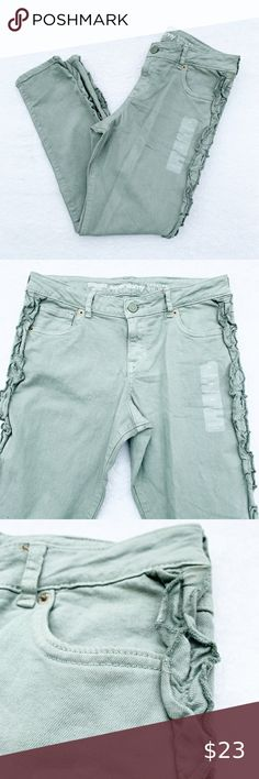 Gymboree Girls Clothes Size 6 7 12 Ruffled Edge Green Skinny Kids Jeans 10 8