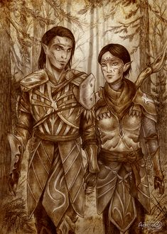 Dragon age_ Merrill and Mahariel by Agregor male and female elf couple forest ranger archer fighter armor clothes clothing fashion player character npc | Create your own roleplaying game material w/ RPG Bard: www.rpgbard.com | Writing inspiration for Dungeons and Dragons DND D&D Pathfinder PFRPG Warhammer 40k Star Wars Shadowrun Call of Cthulhu Lord of the Rings LoTR + d20 fantasy science fiction scifi horror design | Not Trusty Sword art: click artwork for source