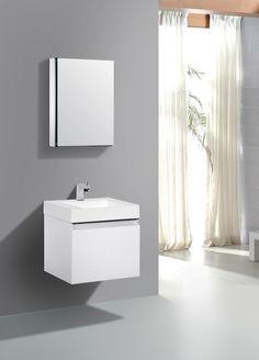 Aqua Decor Venice 24 Inch Modern Bathroom Vanity Set W Medicine Cabinet White