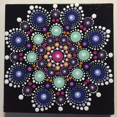 Hand Painted Mandala on Canvas, Dot Art, Calming, Healing, #455 by MafaStones on Etsy