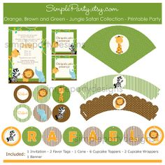Orange, Brown and Green - Jungle Safari Collection -  Baby Shower/Birthday - Printable Party