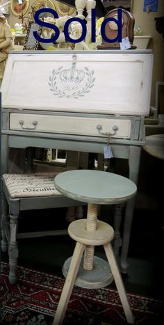 SOLD-painted desk and painted bench. Annie Sloan chalk paint.