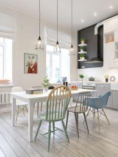 Chaises dépareillées dans une cuisine style scandinave  http://www.homelisty.com/chaises-depareillees/