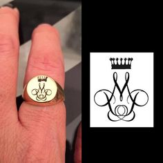 Family Crest Ring Engraved ring Personalized Ring by Limajewelry